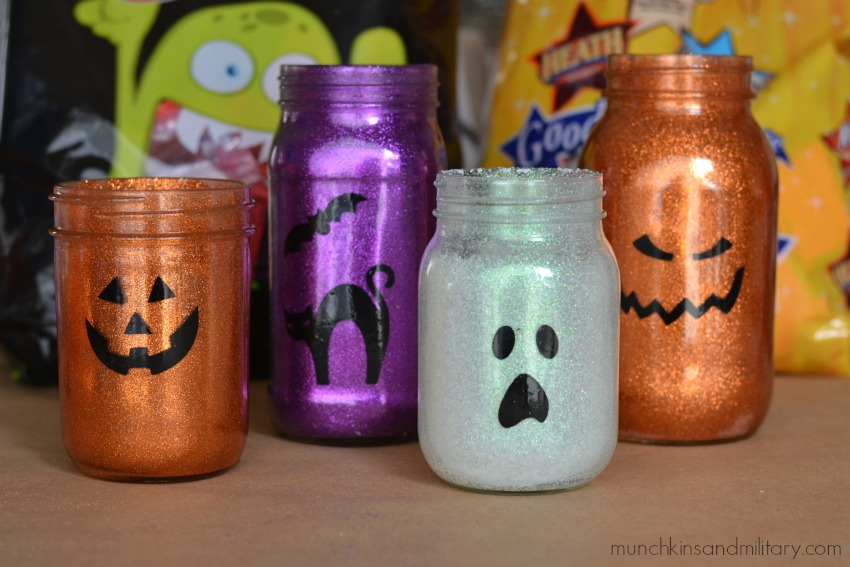 Pretty glittery jars plus LOTS of Halloween candy! Yum!