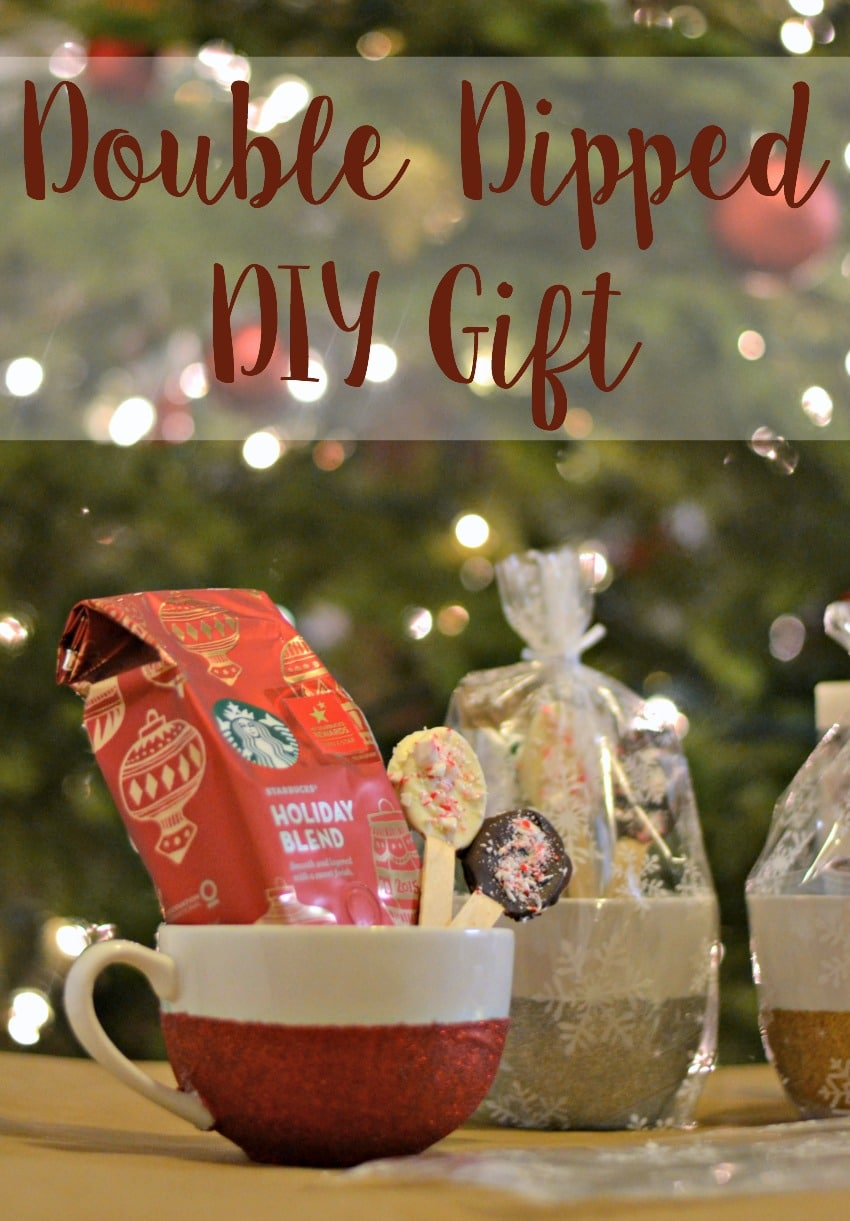 Double Dipper DIY Gift - Munchkins and the Military - Combine glitter dipped mugs and chocolate dipped spoons with some @Starbucks coffee for the perfect homemade gift this holiday season! #MakeItMerrier ad