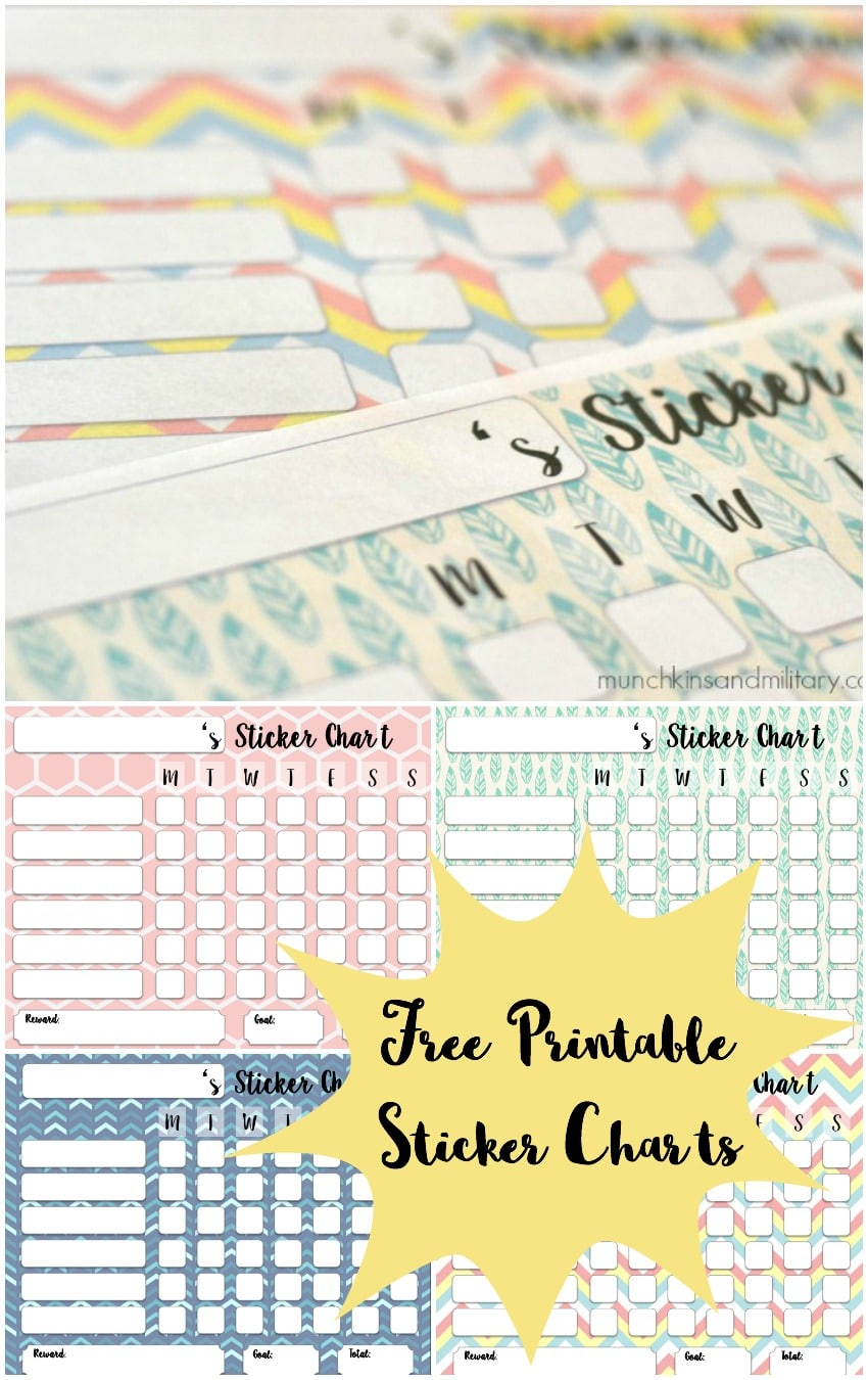 Free printable sticker charts - 4 colors to chose from!