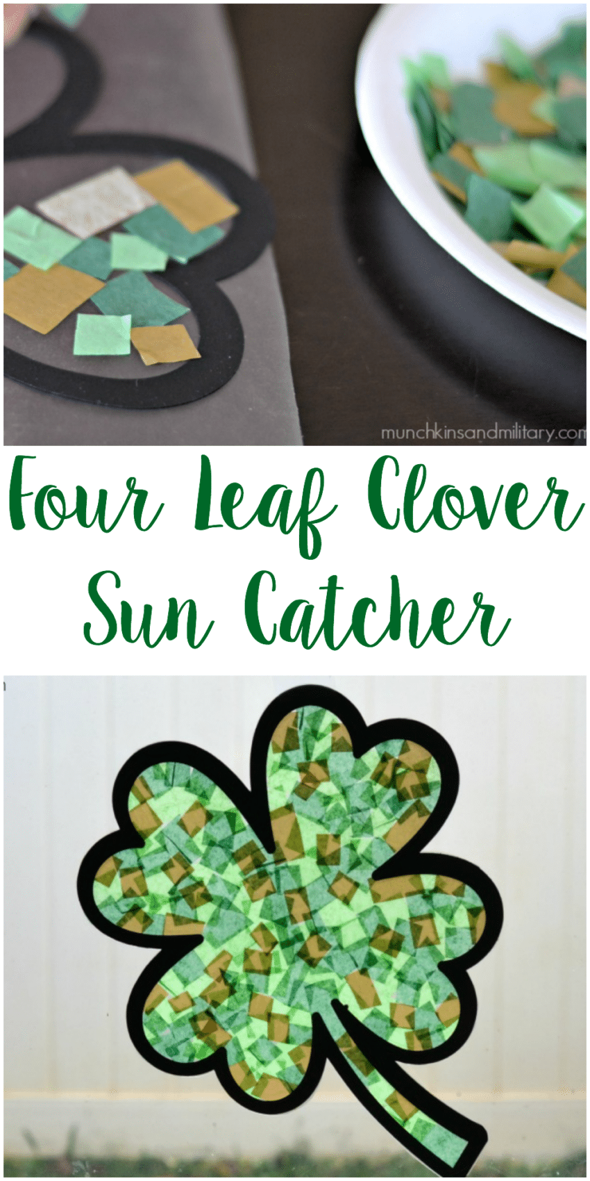 Four Leaf Clover Sun Catcher - Easy St. Patrick's Day craft for kids!
