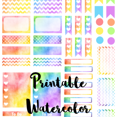 Printable Watercolor Planner Stickers