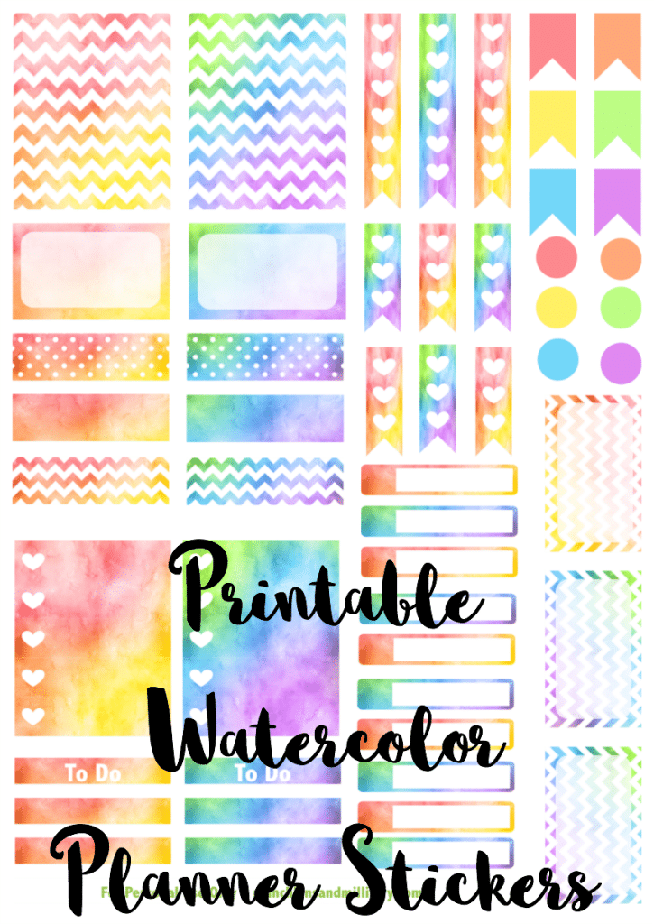 Free printable set of watercolor stickers for your Erin Condren Life Planner! Perfect file for a Cricut or Silhouette machine!
