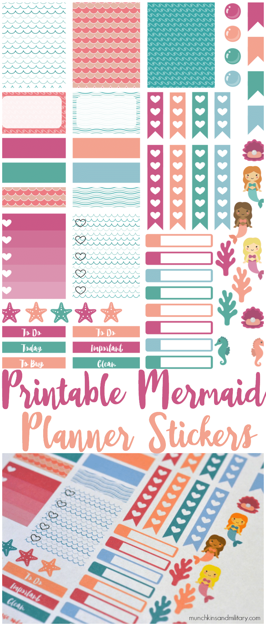 Calendar Planner Erin Condren : Printable mermaid stickers munchkins and the military