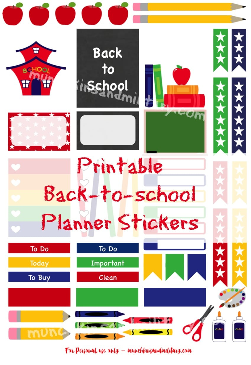 Free Back to School Planner Stickers and Printables | Plan ...