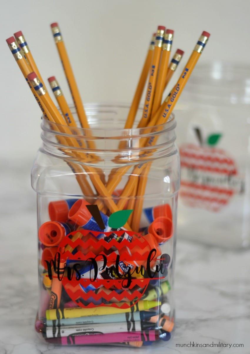 1st grade teacher gift - crayons, glue sticks, and pencils