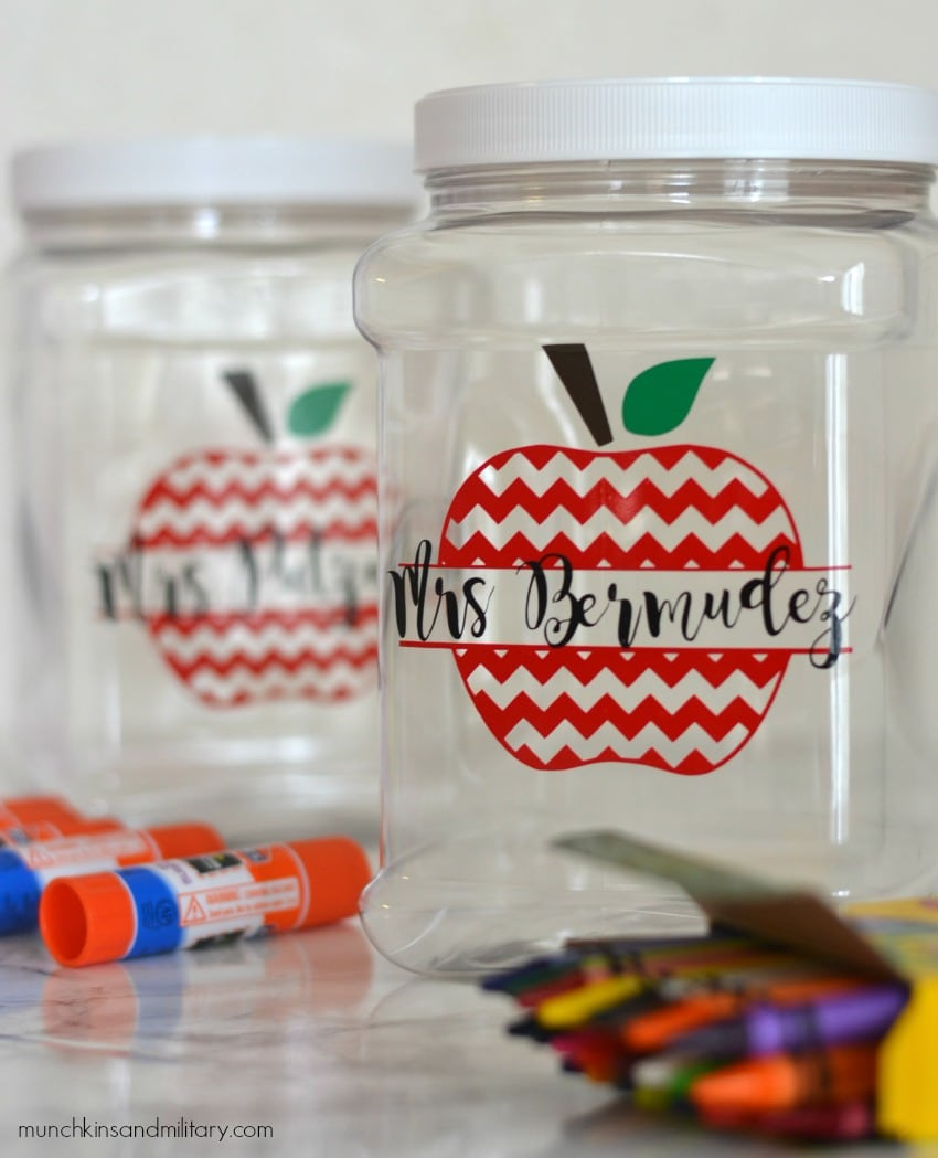 Simple vinyl decals give each container a cute personalized look