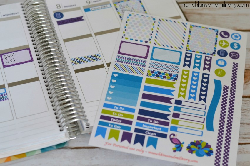 Purple peacock printable planner stickers for Septmeber Erin Condren Life Planner