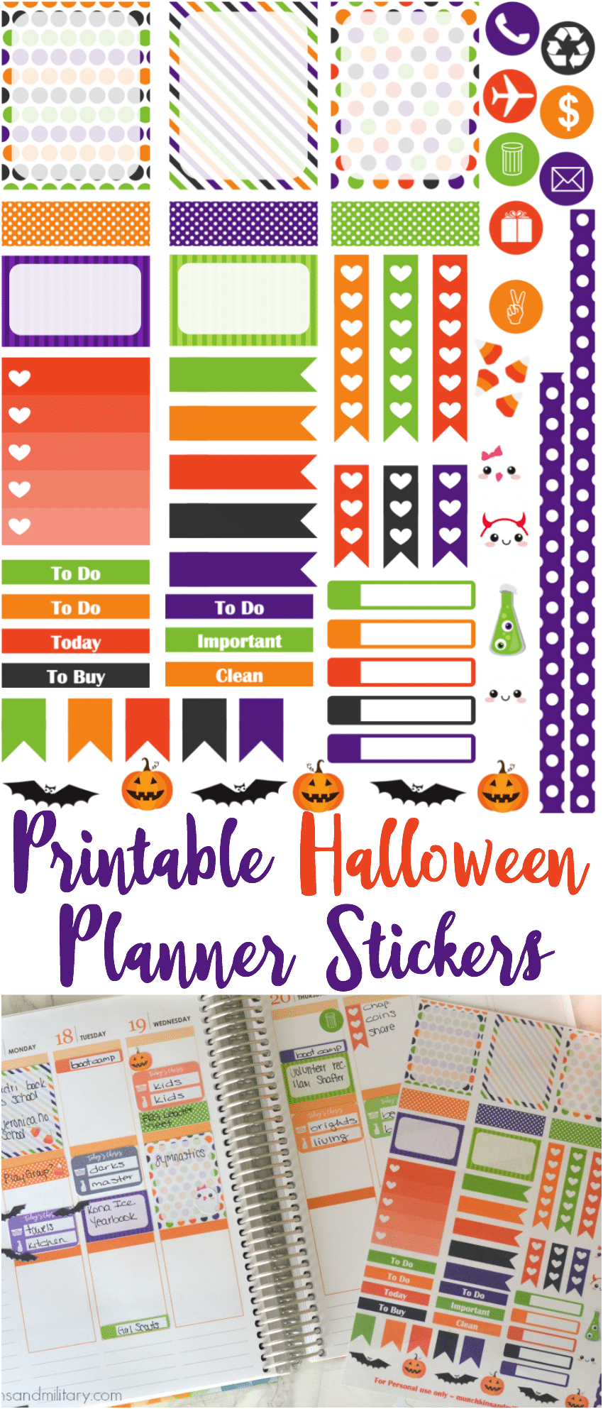 FREE printable Halloween Life PLanner Stickers - munchkinsandmilitary.com