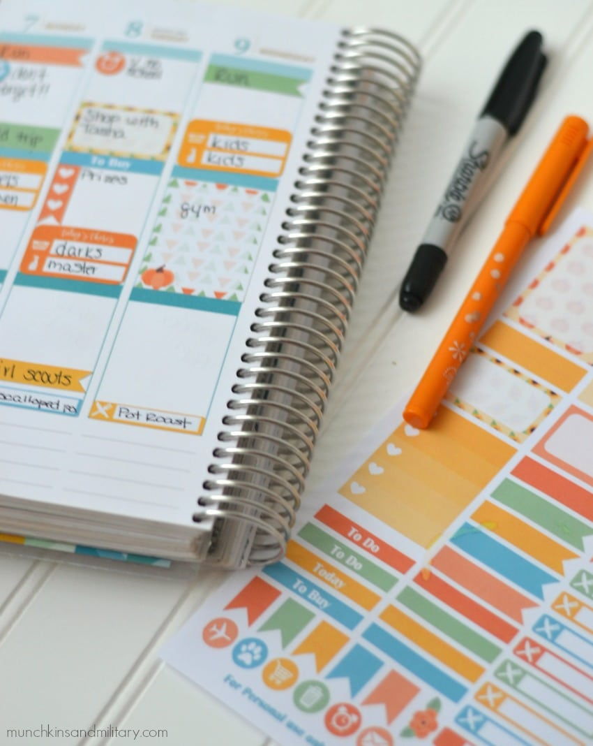 Free prinablt planner stickers for November and Thanksgiving