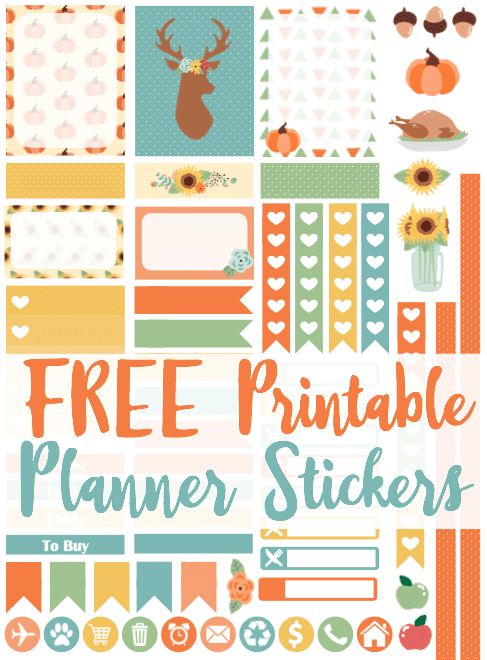 Free printable planner stickers for Cricut and Silhouette! Perfect coordinating colors for November in the Erin Condren Life Planner!