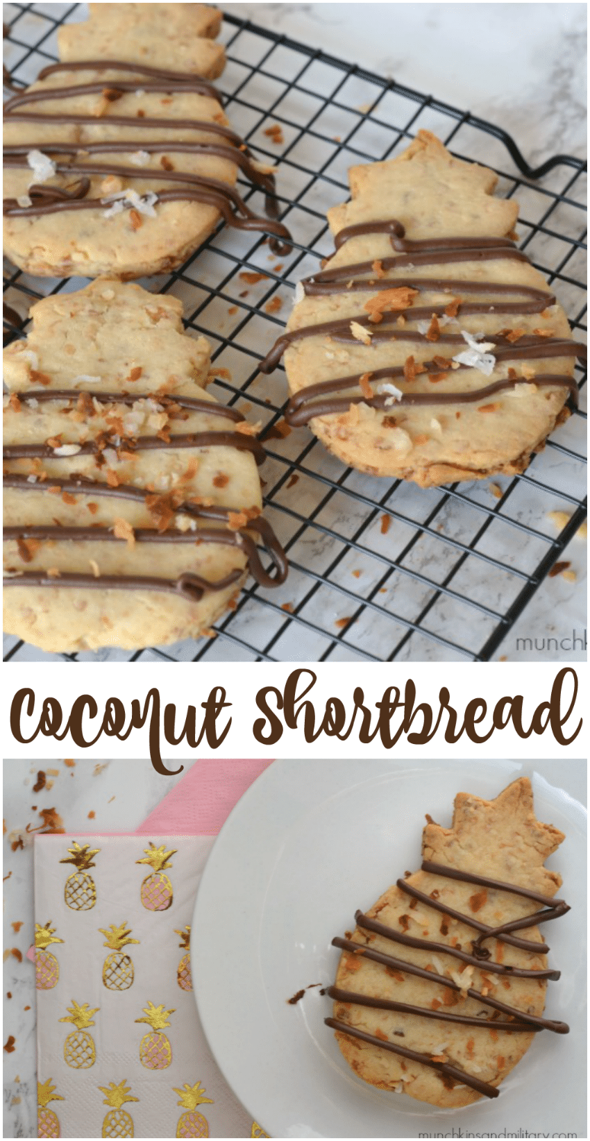 Coconut shortbread cookies in the shape of pineapples!