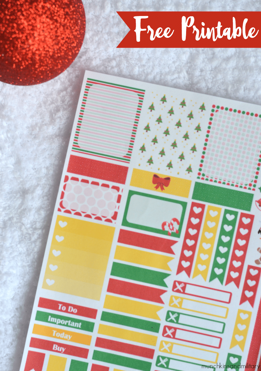Free festive printable planner stickers for your Erin Condren Life Planner