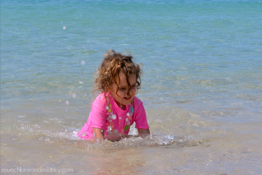 Splashing in the water - baby friendly beach Oahu, Hawaii