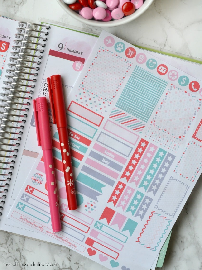 Free printable Valentines stickers for Erin Condren Life Planner