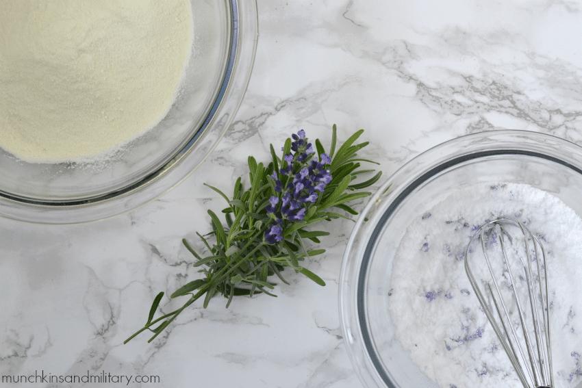 Powdered milk ingredients for lavender milk bath
