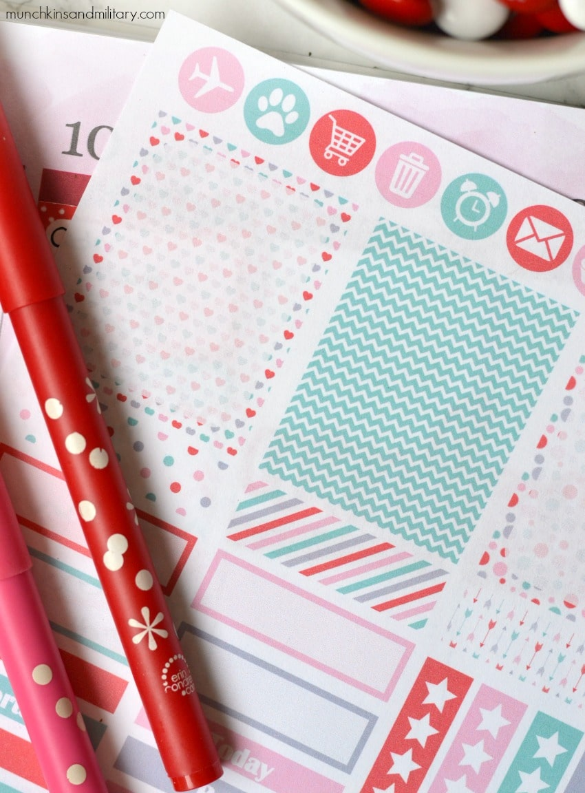 Valentines printable planner stickers