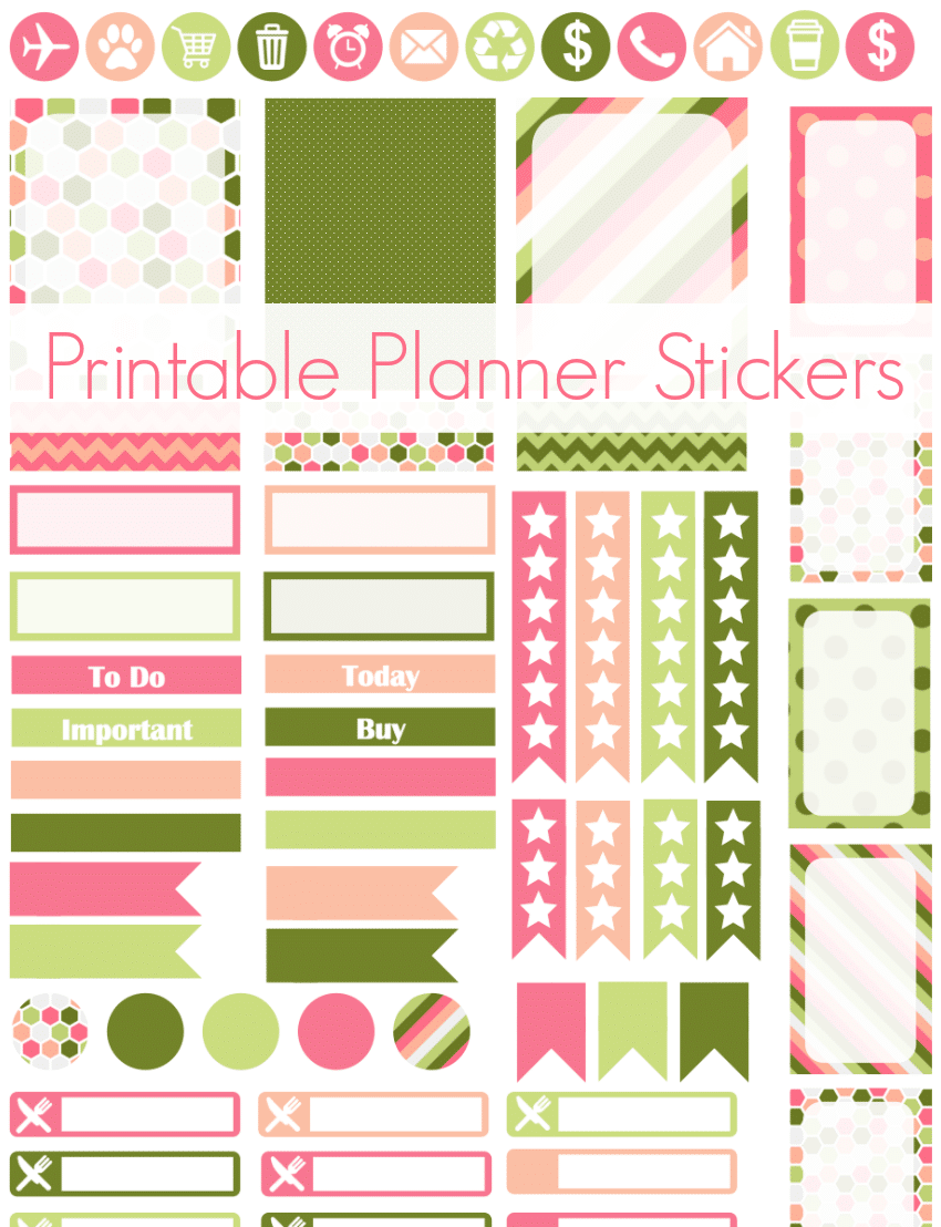 Free pink and green printable planner stickers! Cricut & PDF files