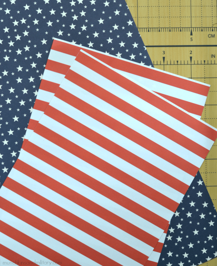 "Two 12"" x 12"" scrapbook sheets cut in half are the perfect size to decorate the flaps on a large USPS flat-rate box."