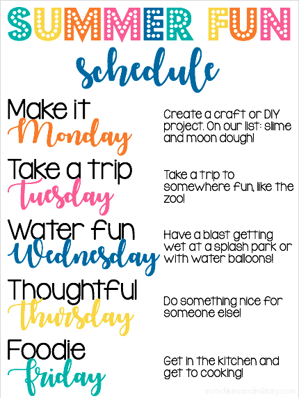 Summer schedule with fun ideas to fill the week during summer break!