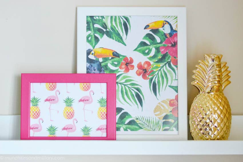 tropical prints in frames