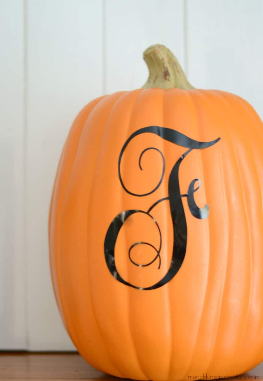 Vinyl monogram on no-carve faux pumpkin