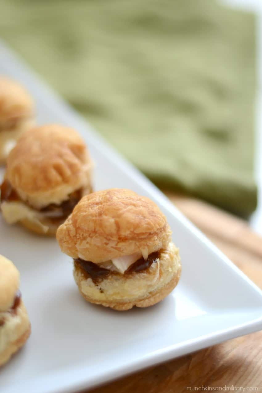 Apple butter and baked brie cheese puff pastry bites