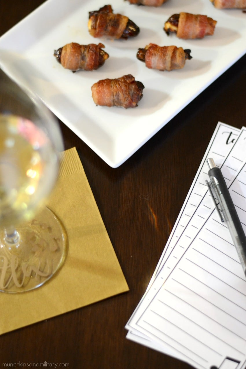 Delicious bacon wrapped dates stuffed with goat cheese to compliment Chardonnay wine tasting