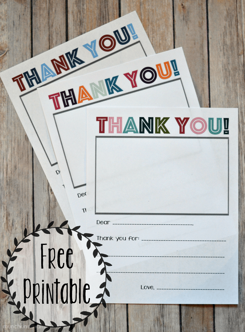 Three color schemes of printable kids thank you notes for Christmas, Veterans, and any other occasion!