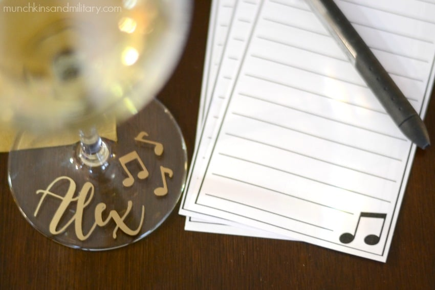 Personalized music note wine glass and tasting note sheet