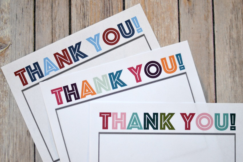 Printable Thank You notes in three different color schemes, for Veterans Day, Christmas, and any other time!
