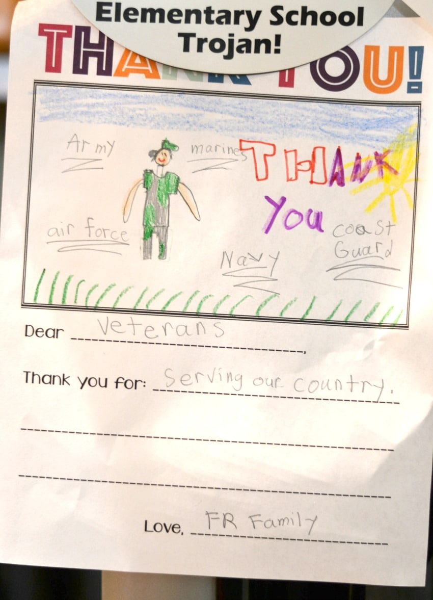 Thank you note to military veterans from a 7 year old