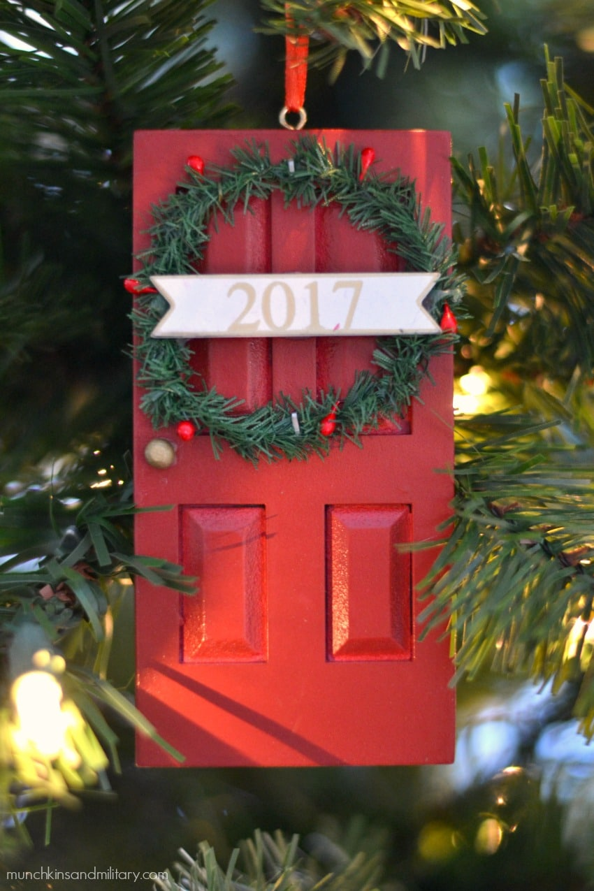 Red door with 2017 wreath Christmas tree ornament from Target