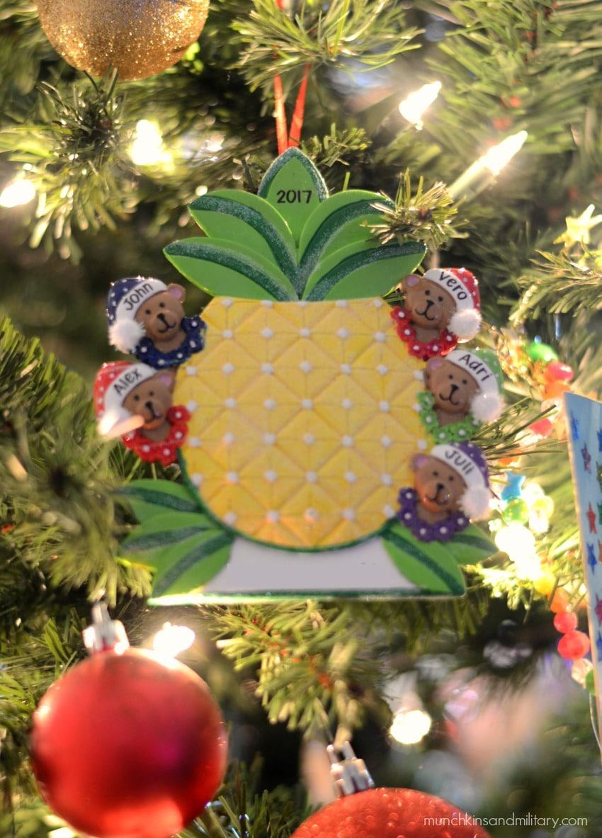 Personalized Hawaiian pineapple Christmas tree with five little bears