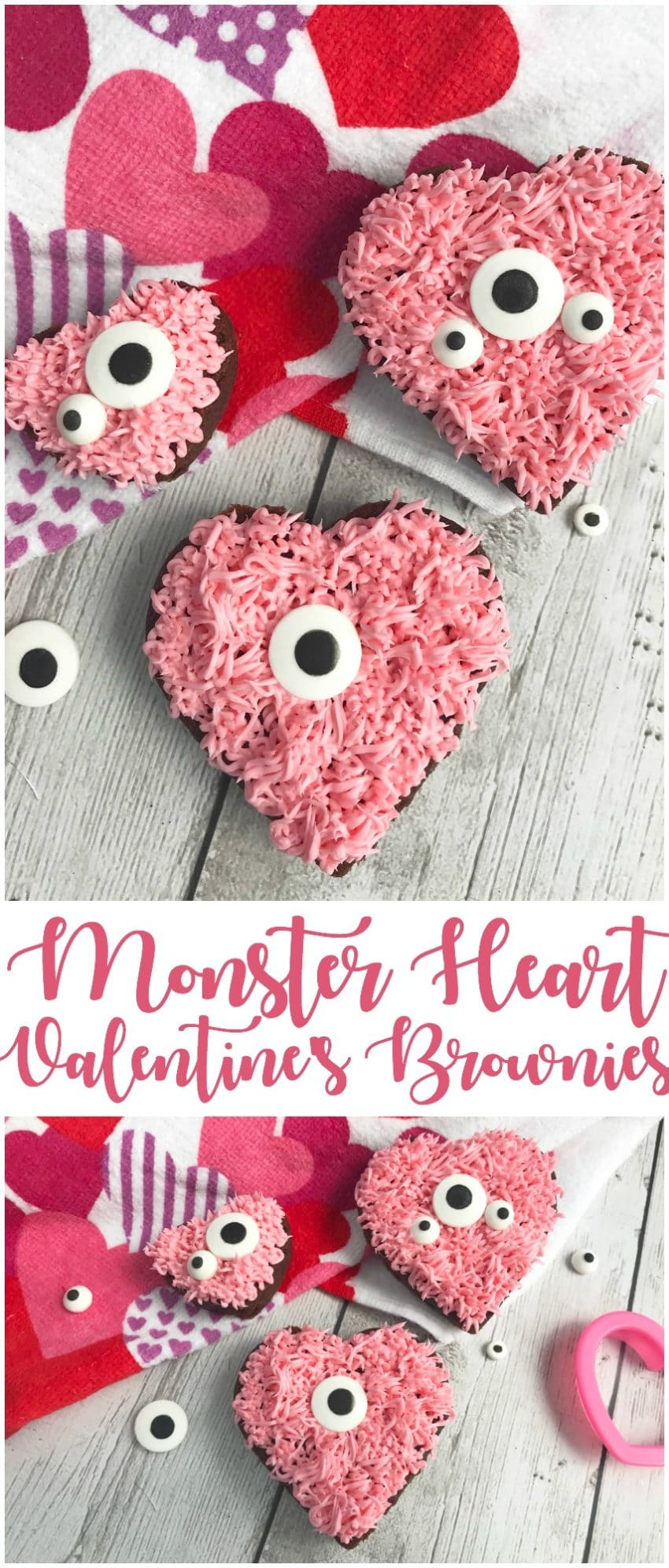 Valentine's monster heart brownies that are so cute, it's scary! These brownies are simple to make and fun to decorate!
