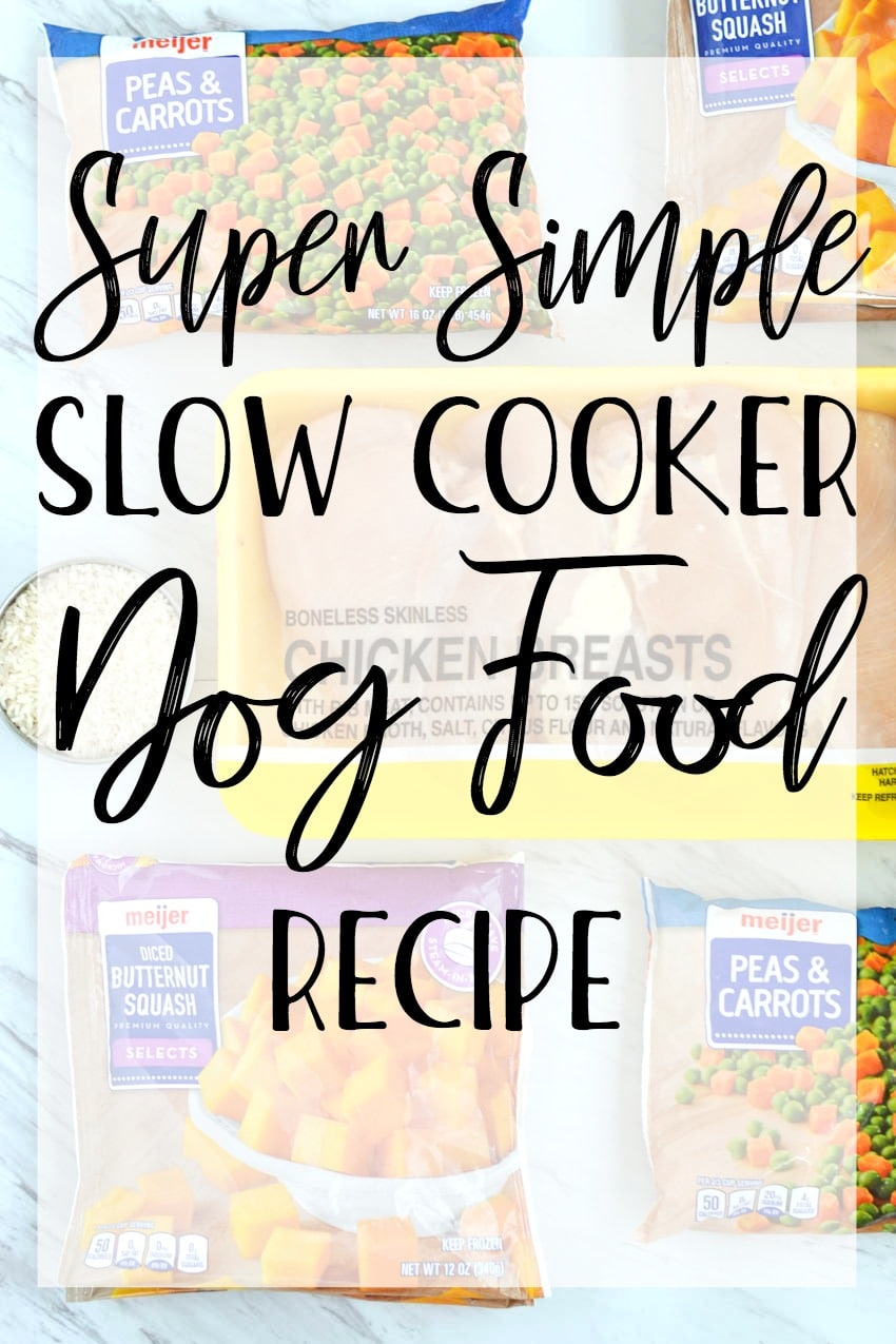 Super simple slow cooker dog food recipe made with chicken, rice, and frozen vegetables. It doesn't get any easier than that! #recipe
