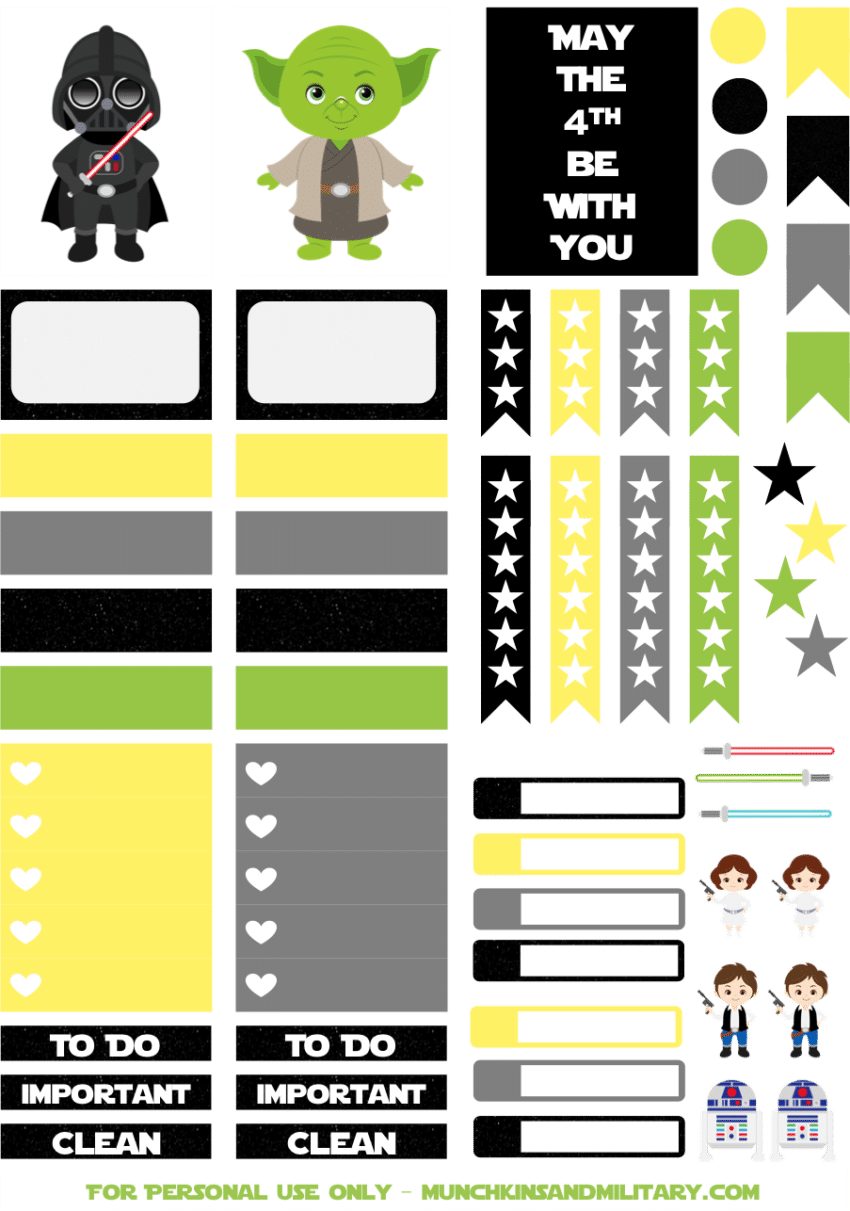 image relating to Printable Star Wars referred to as Printable Star Wars Planner Stickers - A few Tiny Ferns
