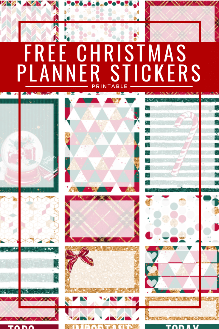 graphic relating to Free Printable Stickers called Absolutely free Printable Xmas Planner Stickers - A few Tiny
