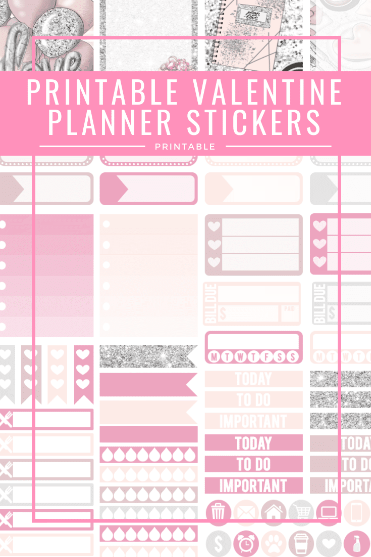 photograph relating to Valentine Stickers Printable identify Contemporary Planner + Printable Valentine Planner Stickers - A few