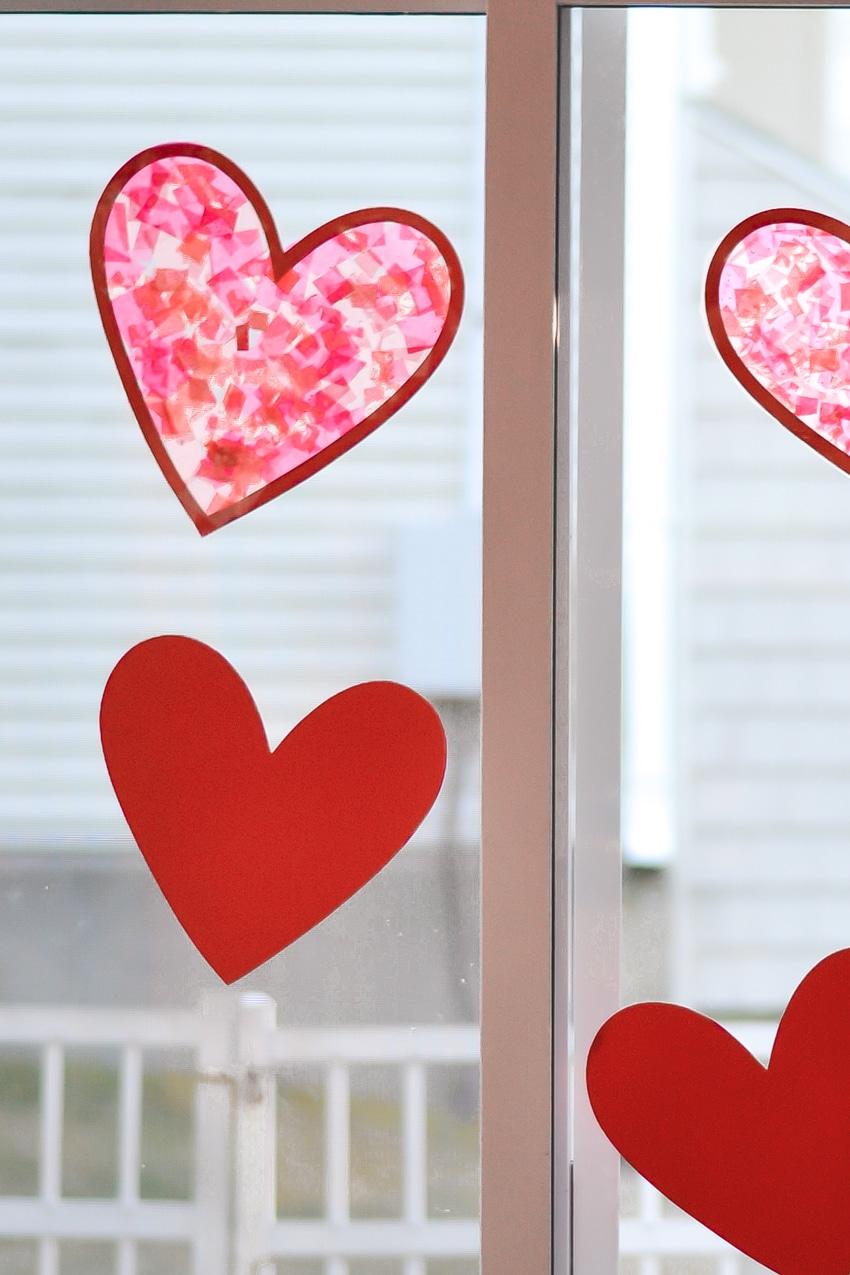 Valentine's Heart Sun Catcher Craft - Three Little Ferns